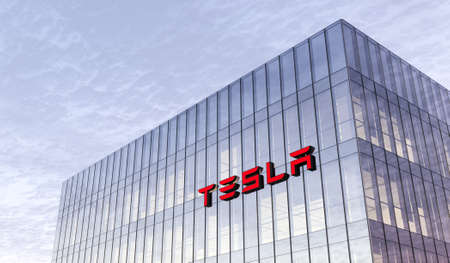 Palo Alto, California, USA. February 17, 2021. Editorial Use Only, 3D CGI. Tesla Signage Logo on Top of Glass Building. Workplace Car Company Office Headquarter. Редакционное