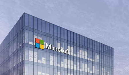Redmond, United States. February 25, 2021. Editorial Use Only, 3D CGI. Microsoft Corporation Holding Signage Logo on Top of Glass Building. Workplace of Technology Internet Company Office Headquarter.