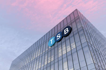 Edinburgh, United Kingdom. February 18, 2021. Editorial Use Only, 3D CGI. TSB Signage Logo on Top of Glass Building. Workplace Financial Service Retail Banking Company in High-rise Office Headquarter.