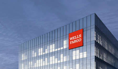 San Francisco, CA. February 27, 2021. Editorial Use Only, 3D CGI. Wells Fargo Signage Logo on Top of Glass Building. Workplace Financial Service Retail Banking Company in High-rise Office Headquarter.