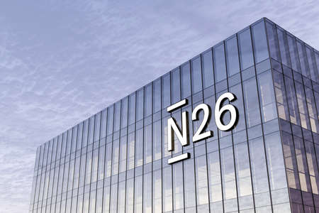 Berlin, Germany. February 17, 2021. Editorial Use Only, 3D CGI. N26 Online Bank Signage Logo on Top of Glass Building. Workplace in High-rise Office Headquarter.