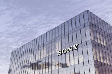 Minato City, Tokyo, Japan. Editorial Use Only, 3D CGI. Sony Corporation Holding Signage Logo on Top of Glass Building. Workplace of Technological Company Office Headquarter. Редакционное