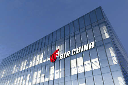 Beijing, China. February 17, 2021. Editorial Use Only, 3D CGI. Air China Corporation Signage Logo on Top of Glass Building. Workplace Airline Company Office Headquarter.