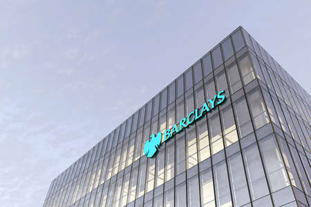 London, United Kingdom. February 18, 2021. Editorial Use Only, 3D CGI. Barclays Signage Logo on Top of Glass Building. Workplace Financial Services Company in High-rise Office Headquarter. Редакционное