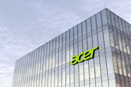 New Taipei City, Taiwan. February 16, 2021. Editorial Use Only, 3D CGI. Acer Signage Logo on Top of Glass Building. Workplace in High-rise Office Headquarter at Day Time.