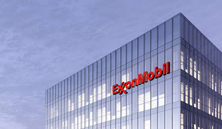 Irving, Texas, United States. February 25, 2021. Editorial Use Only, 3D CGI. ExxonMobil Signage Logo on Top of Glass Building. Workplace of Gas and Oil Company in High-rise Office Headquarter.