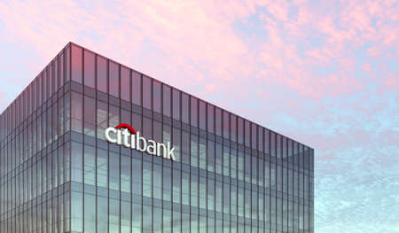 New York, USA. February 19, 2021. Editorial Use Only, 3D CGI. Citibank Signage Logo on Top of Glass Building. Workplace Financial Services Company in High-rise Office Headquarter. Редакционное
