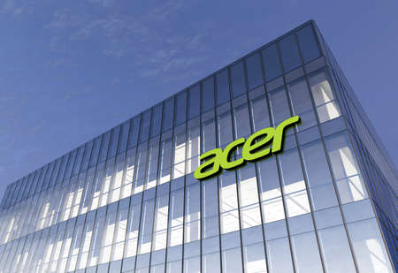 New Taipei City, Taiwan. February 16, 2021. Editorial Use Only, 3D CGI. Acer Signage Logo on Top of Glass Building. Workplace in High-rise Office Headquarter at Night Time.