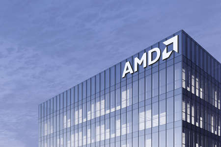 Santa Clara, CA, USA. February 18, 2021. Editorial Use Only, 3D CGI. AMD Signage Logo on Top of Glass Building. Workplace Multinational Semiconductor Company Office Headquarter. Редакционное