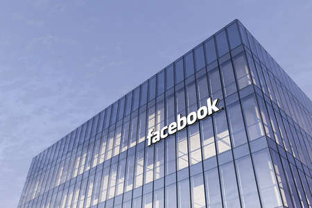 Menlo Park, California, USA. February 25, 2021. Editorial Use Only, 3D CGI. Facebook Signage Logo on Top of Glass Building. Workplace Social Networking Service Company High-rise Office Headquarter.