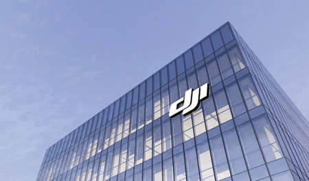 Shenzhen, China. February 25, 2021. Editorial Use Only, 3D CGI. SZ DJI Robotics Technology Co. Signage Logo on Top of Glass Building. Workplace of Sciences Company in High-rise Office Headquarter.