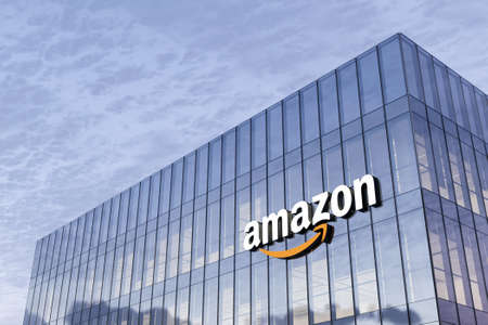 Seattle, WA, USA. February 18, 2021. Editorial Use Only, 3D CGI. Amazon Signage Logo on Top of Glass Building. Workplace E-commerce Company Office Headquarter.