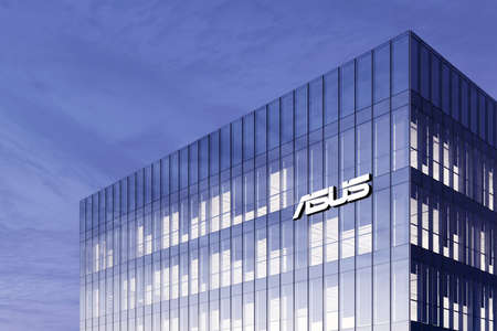 Taipei, Taiwan. February 18, 2021. Editorial Use Only, 3D CGI. Asus Signage Logo on Top of Glass Building. Workplace Computer Hardware Company in High-rise Office Headquarter. Редакционное