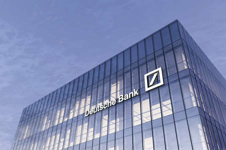 Frankfurt, Germany. February 19, 2021. Editorial Use Only, 3D CGI. Deutsche Bank Signage Logo Glass Building. Workplace Investment Banking Financial Services Company in High-rise Office Headquarter.