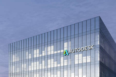 San Rafael, CA, USA. February 18, 2021. Editorial Use Only, 3D CGI. Autodesk Signage Logo on Top of Glass Building. Workplace Computer Software Company in High-rise Office Headquarter. Редакционное