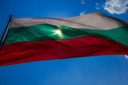 bulgaria: Bulgaria flag fluttering in the sun