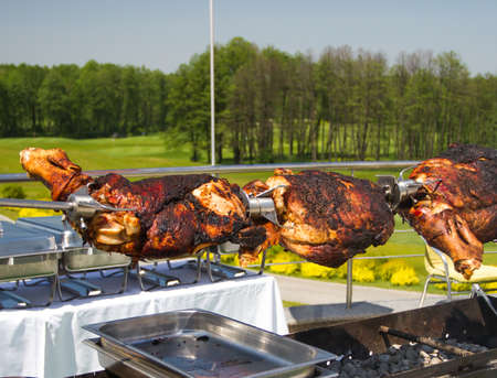 Grilled meat on a spit of veal leg during a picnic after a game of golf Stock Photo