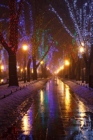 Odessa, Ukraine. Primorsky Boulevard is decorated with Christmas lights. Christmas.