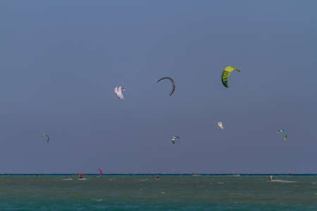 Kite surfing in the Red Sea Stock Photo