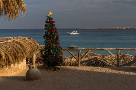 aéroglisseur: Dreamlike beauty of a tropical island are perfect for celebrating the Christmas and New Year. Banque d'images