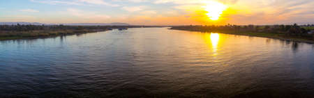 repulse: Panorama of the River Nile at sunset Stock Photo