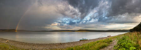 Double rainbow over the reservoir, Bakota. Archaeological excavations show that since ancient times, along the banks of the Dniester, many pagan sanctuaries and temples, as well as burial womens burial places were located on this place, which indicates t