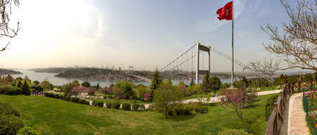 Panorama of the Bosporus and part of Istanbul. Removed from the Asian side. There are bridges over the Bosphorus and flags of Turkey Archivio Fotografico