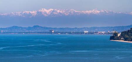 View from the Batumi Botanical Garden. Sea, mountains, snowy peaks