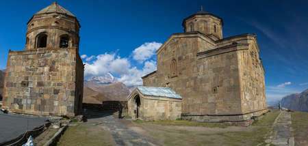 river: The Trinity Church in Gergeti is located at an altitude of 2,170 m at the foot of Kazbek along the Georgian Military Road in the Georgian village of Gergeti on the right bank of the river Cheheri, directly above the village of Stepantsminda.
