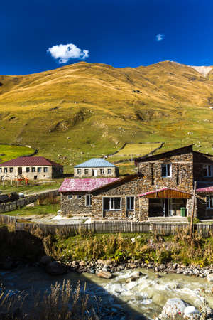 Houses, landscapes and Svan towers of Ushguli.Ushguli is the most highland permanently inhabited community in Europe. It is located at an altitude of 2,200 meters.