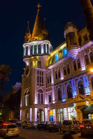 Night Batumi, illumination, fountains, buildings, streets, monuments, lights. Georgia.