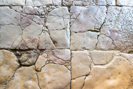Background, texture, stone floor, polished with thousands of feet Archivio Fotografico