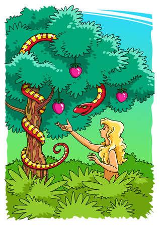 De slang verleidt Eva om de verboden vrucht van de boom van de kennis van goed en kwaad in de hof van Eden te nemen Stockfoto