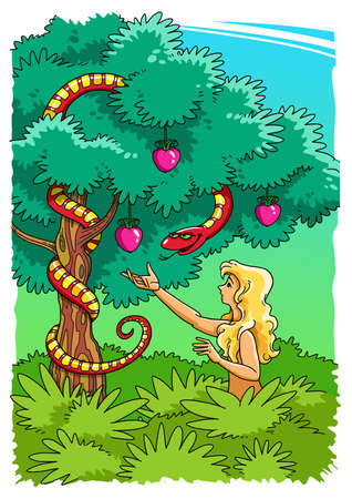 The Serpent tempts Eve to take the Forbidden Fruit from the Tree of the knowledge of good and evil in the Garden of Eden