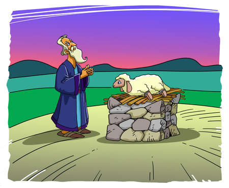 Patriarch Abraham stands near the altar and sacrifices a lamb Stockfoto