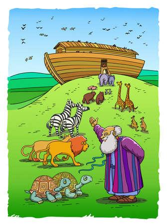 성경의 노아는 거북이, 라이온스, 얼룩말 및 다른 동물 쌍을 초대하여 산에 방주에 들어갑니다. 스톡 콘텐츠 - 84256491