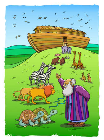 Biblical Noah invites Turtles, Lions, Zebras and other pairs of Animals to enter the Ark on the Mountain