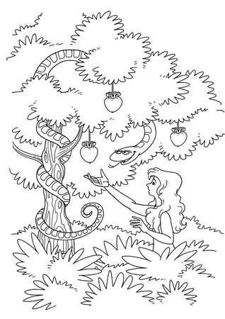 Le Serpent tente Eve de prendre le fruit défendu de l'arbre de la connaissance du bien et du mal dans le jardin d'Eden