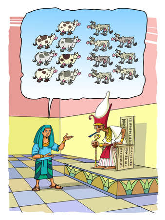 The Biblical Joseph interprets the Pharaoh's Dream of seven fat and seven lean Cows. 스톡 콘텐츠