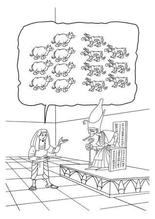 De Bijbelse Joseph interpreteert de farao's droom van zeven dikke en zeven magere koeien. Stockfoto - 84651251