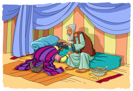 Jacob uses deception to take away from his father Isaac the blessing of his brother Esau