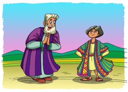 jacob déçu son fils jeune bien-aimé de couleur de vêtements heureux