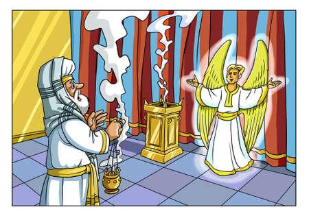 천사 가브리엘은 예루살렘 성전에서 스가랴의 제사장에게 나타나 아들의 탄생을보고했습니다. 스톡 콘텐츠 - 89916917