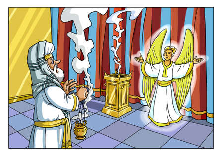 The Angel Gabriel appeared to the Priest of Zechariah in the Jerusalem Temple and reported the Birth of his Son.