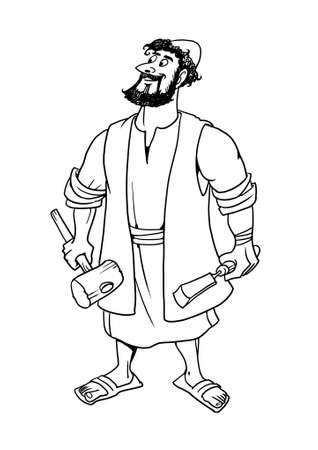Joseph the carpenter, husband of Mary, the earthly Father of Jesus Christ. Stock Photo