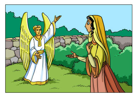 천사 가브리엘은 성모 마리아에게 나타나 아들의 탄생에 대해 이야기합니다.