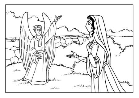 The Angel Gabriel appeared to the Virgin Mary and informs her of the birth of Son. Stok Fotoğraf - 90571515