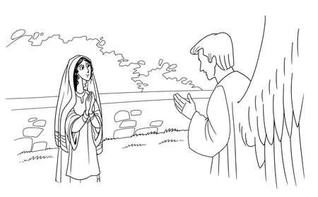 天使ガブリエルは聖母マリアに登場し、彼女の息子の誕生を通知します。 写真素材