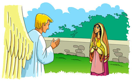 L'ange Gabriel est apparu à la Vierge Marie et l'informe de la naissance du Fils.