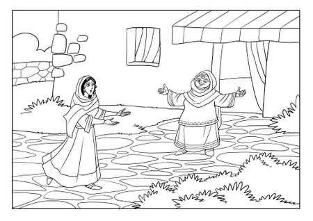 La Vierge Marie rencontre Elisabeth, la mère de Jean-Baptiste. Banque d'images - 90538885